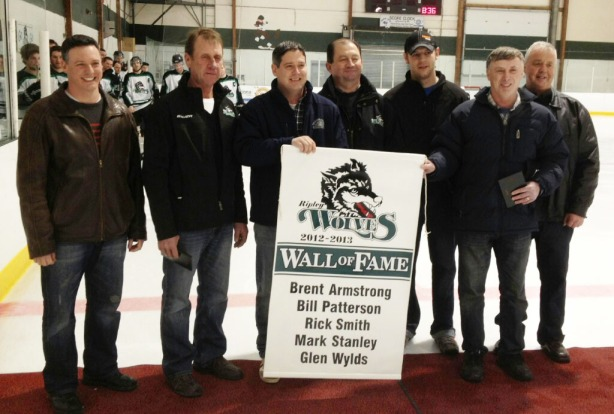 The Wolves inducted the first class to its Wall of Fame before Friday night's 7-3 win over Shelburne. Pictured are Dwight Irwin, left, vice-president of the Wolves executive, inductees Brent Armstrong, Bill Patterson, Mark Stanley, Mark Smith (filling in for his Dad Rick), Glen Wylds, and Brian Colling, Wolves executive member.